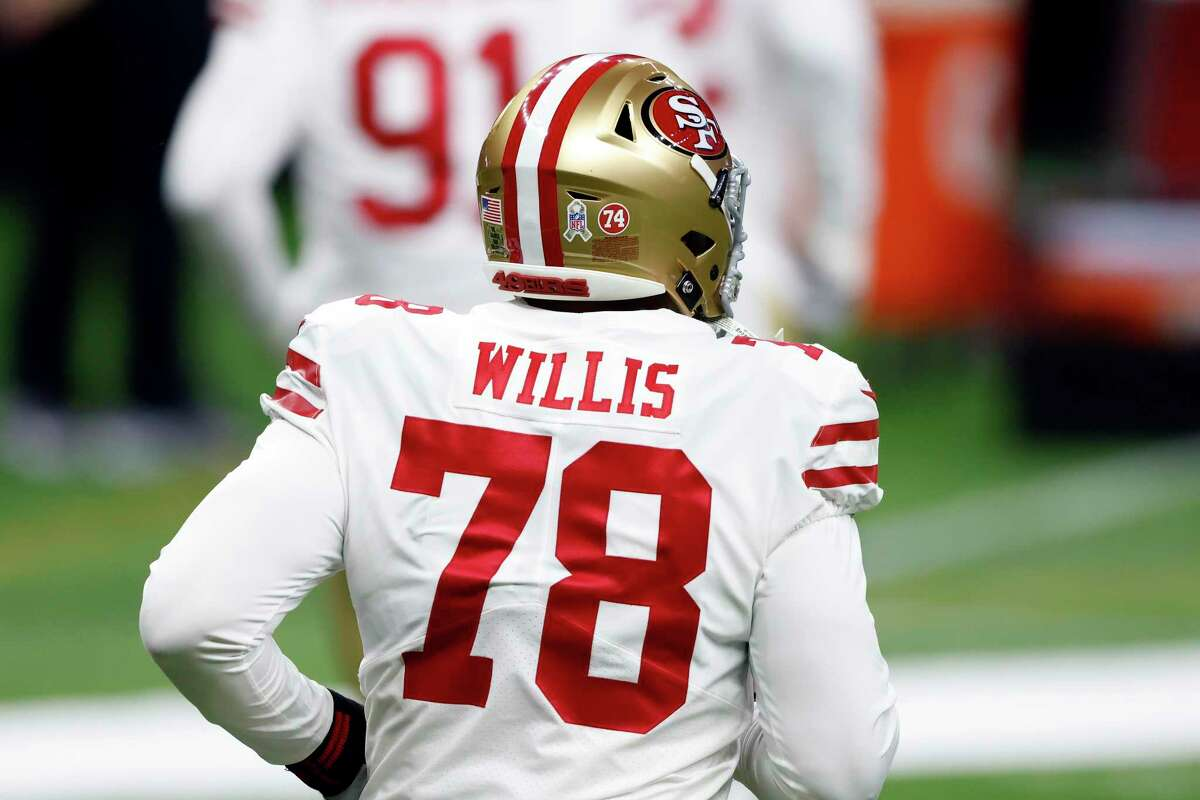 Defensive end Jordan Willis (78) had 2 1/2 sacks in seven games last season with the 49ers. He will miss the first six games of the 2021 season for violating the NFL's policy on performance-enhancing substances.