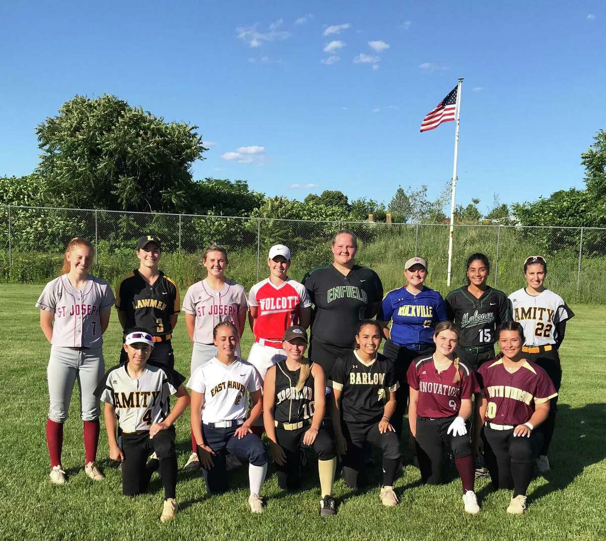 The CT High School All-Star softball team met the Stratford Brakettes for the 21st time onThursday. Team members (front row) are Juliette Zito, Amity; Sammie Franceschi, East Haven; May Dowes, Woodland; Abby Ota Barlow, Kaylee Dobransky, Academy of Sciences/Innovation and Kenadie Gonzalez, South Windsor; (second row) Brittany Mairano, St. Joseph; Maddie Lula, Jonathan Law; Maddy Fitzgerald, St. Joseph; Katie Cosmos, Wolcott; Makenzie Cray, Enfield; Alexandra Silver, Rockville; Milycza Perez, Maloney and Kelly Pritchard, Amity.