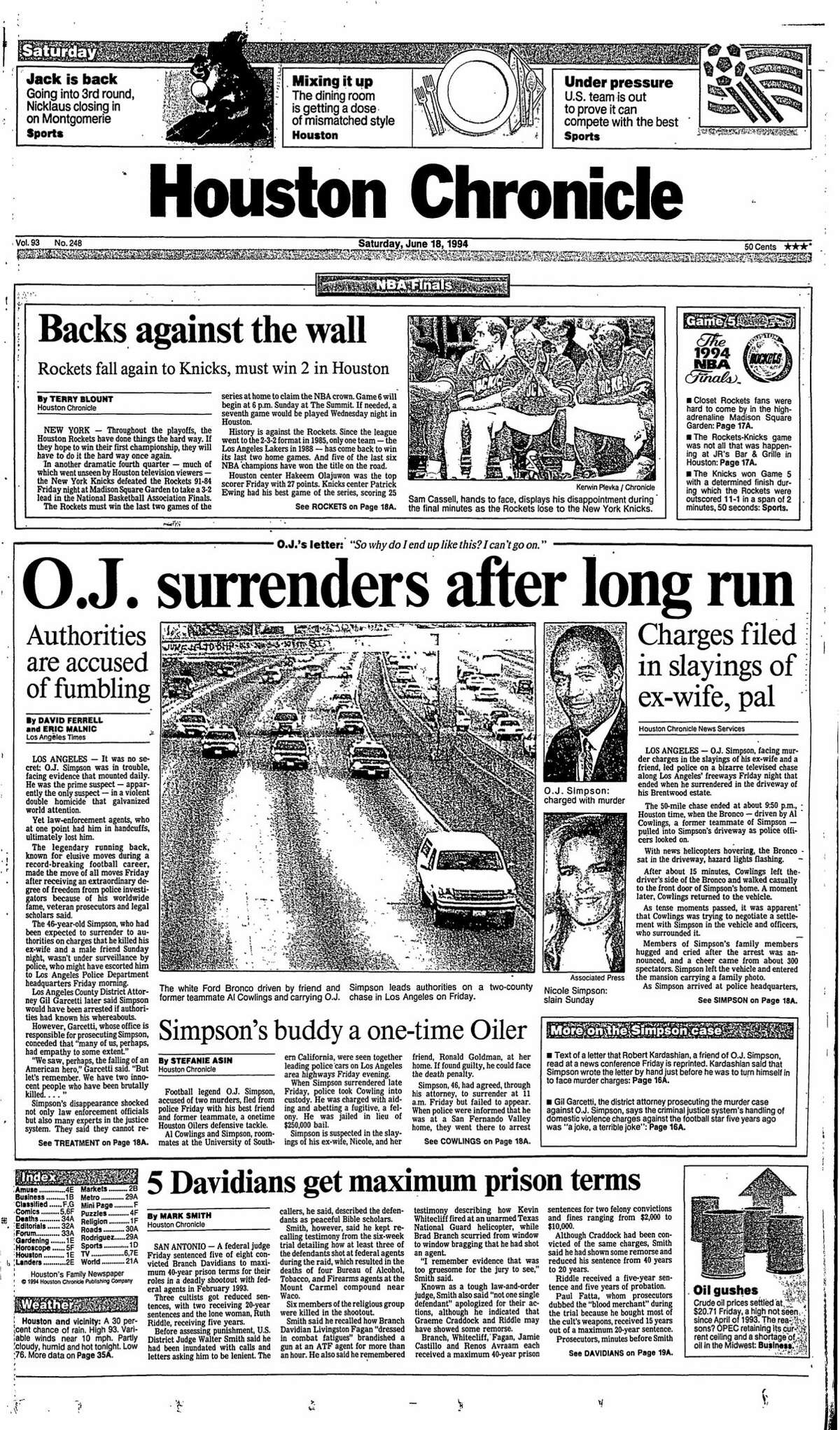Houston Chronicle front page from June 18, 1994.