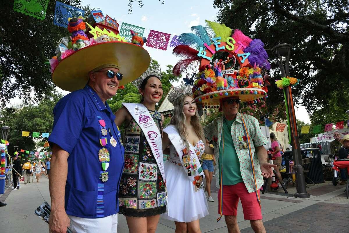 Guy Pritchard, Selah Evans, Kylie Rush and Tye Wichert pose for pictures during Fiesta Fiesta on Thursday, June 17, 2021, Hemisfair Park.