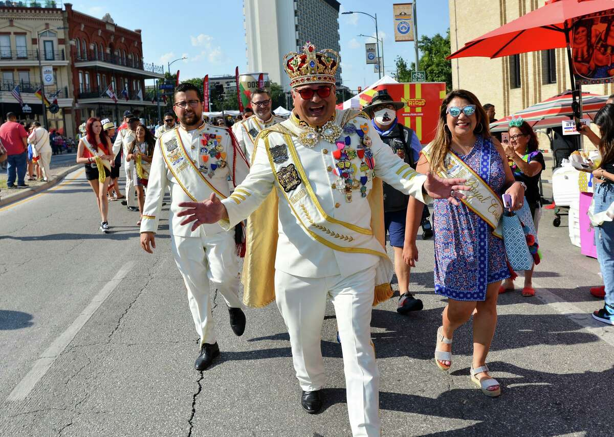 Rey Feo LXXII, Thomas Aguillon, greets spectators during Fiesta Fiesta, the start of Fiesta for 2021, on Thursday.