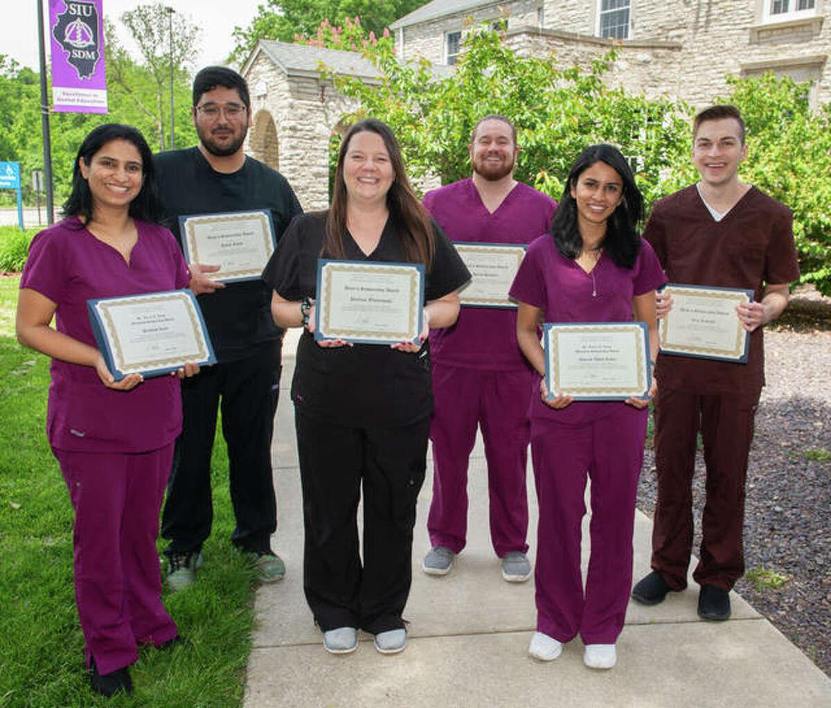 Southern Illinois University School of Dental Medicine scholarship recipients, left to right, Prabhjot Kaur, Kevin Kordi, Paulina Wisniewska, Dylan Handlin, Nourah Abdul Kader and Eric Kubacki.
