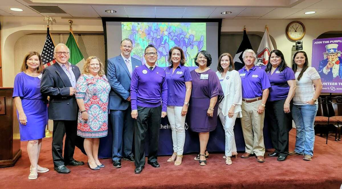 Pictured from left at Thursday's event are Walk Committee member Veronica Castillon , Alzheimer's Association National Board Member Joe Arciniega, VP Development Lisa Ayers and Executive Director Alzheimer's Association San Antonio and South Texas Chapter Gregory Sciuto, Laredo Walk to End Alzheimer's co-chairs Gabriel Castillo and Melissa C. Cigarroa, Development Manager SA So. Texas Chapter P.V. Villasenor-Sandell and Laredo Committee members Patty Bruni, Rocky Bruni, Lydia Gonzalez and Erika Gonzalez.