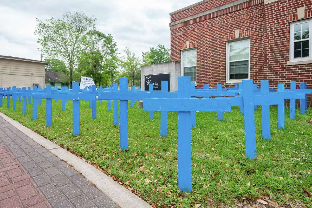 A display by CASA of Southeast Texas focuses on supporting families during April, National Child Abuse Prevention month.