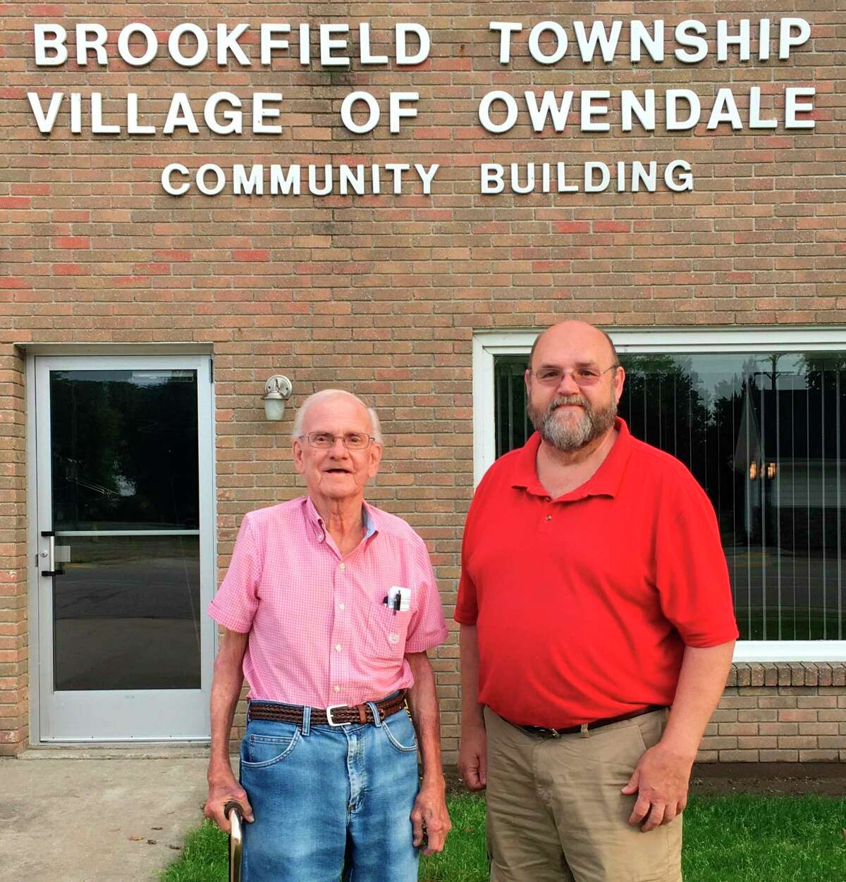 Between Owendale Village President Walter Howard, left, and his cousin, village Clerk Randy Howard, right, the two have served on the council for a combined 75 years. (Courtesy Photo)