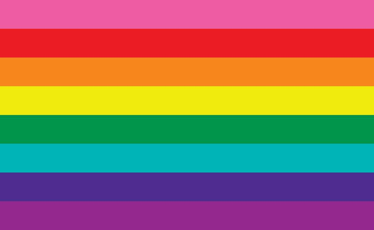 """The original pride flag designed in 1978 by artist Gilbert Baker at the request of politician Harvey Milk, the flag has since been updated. Baker used the rainbow as a """"symbol of hope."""" In this flag, pink represents sexuality, red represents life, orange represents healing, yellow represents sunlight, green represents nature, turquoise represents art, blue represents harmony and violet represents spirit."""