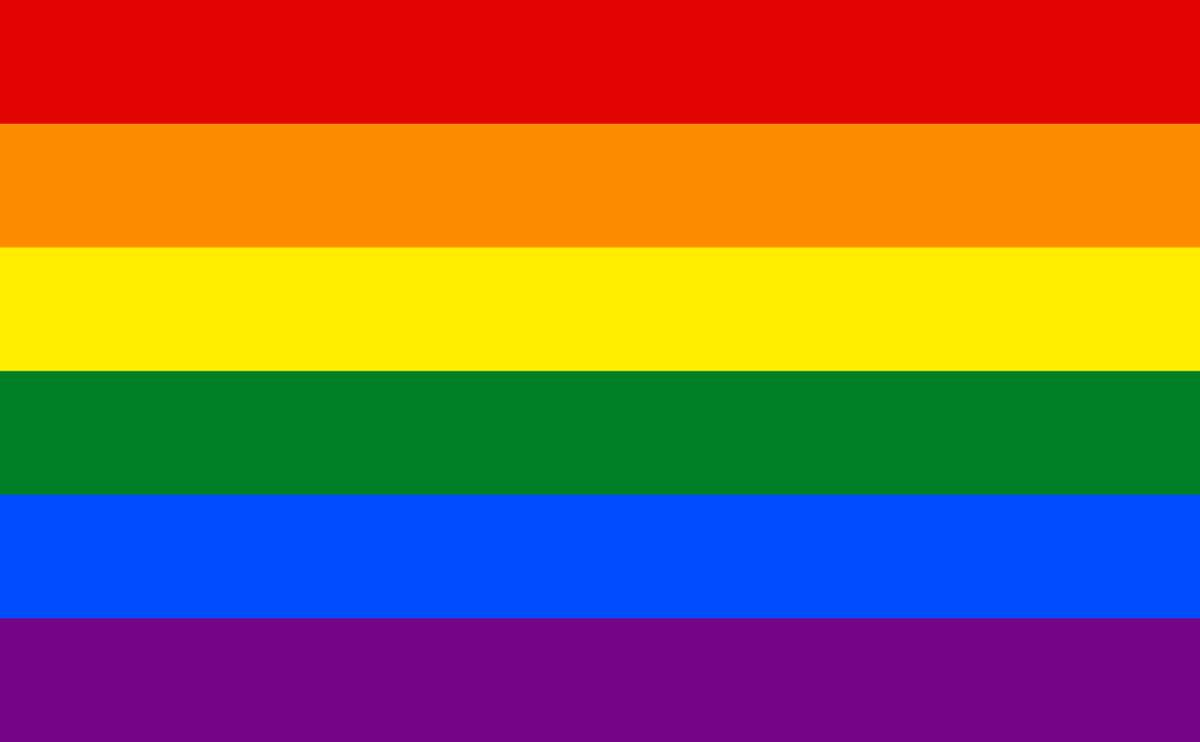 The updated rainbow flag, each color retains its meaning from Baker's original flag. Hot pink and turquoise were removed from the flag to make it easier to mass produce.