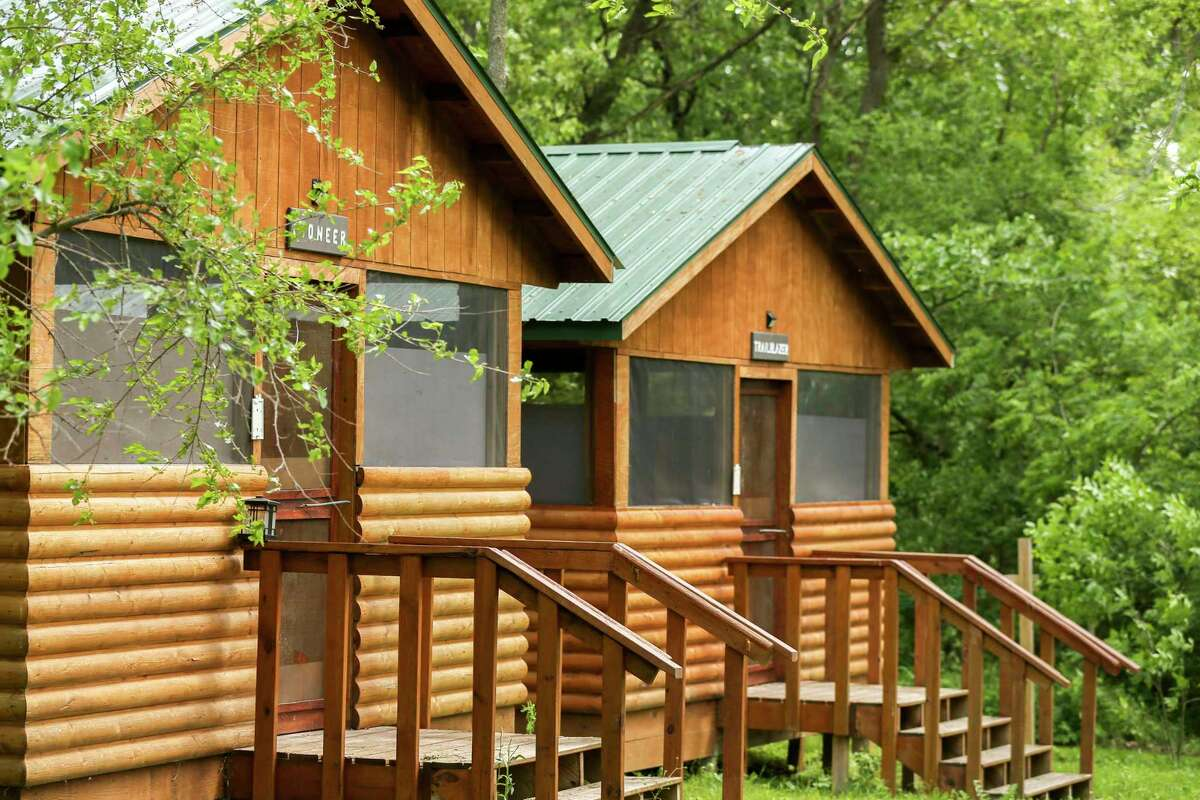 Cabins are seen at Camp Wapsie in Coggon, Iowa June 3, 2021.