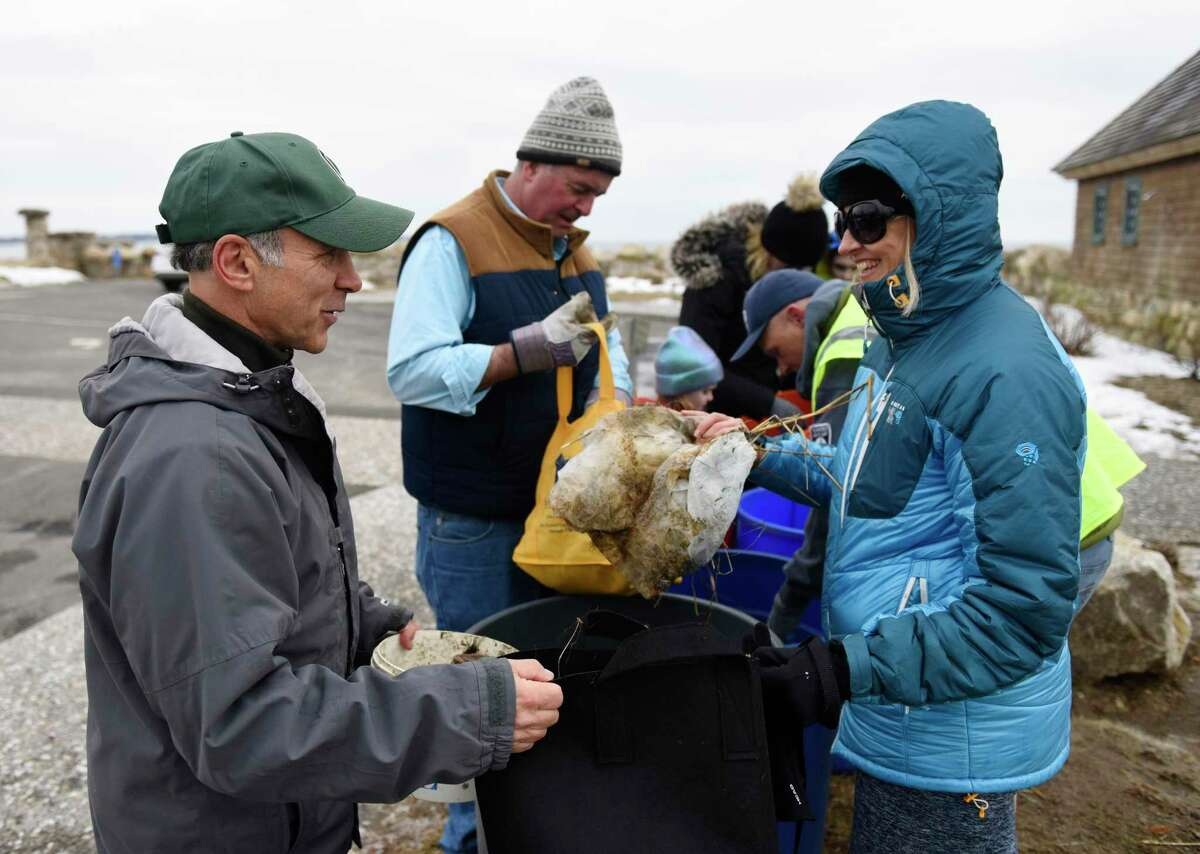 A file photo of Fred Camillo, first selectman of Greenwich, and Jeanine Behr Getz whose advocacy group Bring Your Own Connecticut is helping coordinate municipal efforts statewide to reduce plastic waste.