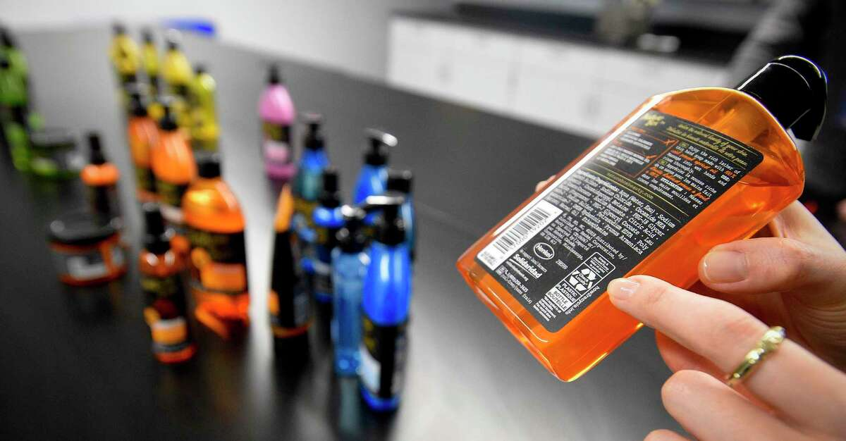 Recycling guidelines printed on a label of a hair-care product sold by Henkel, which has its main North American consumer products office in Stamford.