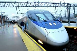 An Amtrak Acela train prepares to leave Union Station in New Haven in 2007.