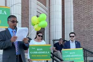 Republican candidate Ron Gambardella kicks off his 2021 run for mayor at Memorial Town Hall in Hamden alongside Councilwoman Marjorie Bonadies and Andrew Tammaro, who is running for an at-large council seat, on  June 17, 2021