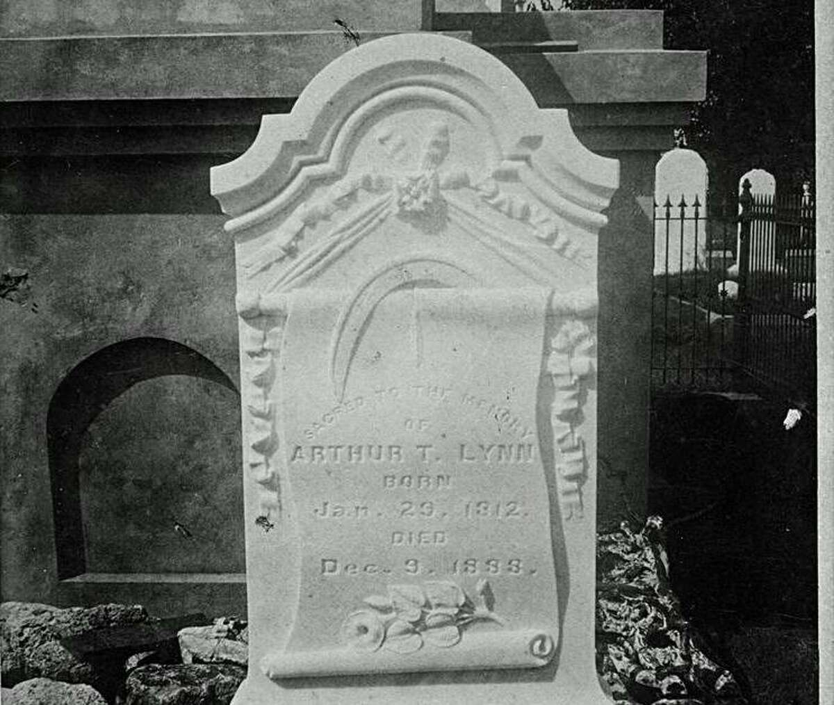 The grave of Arthur Lynn, the second British consul-general to serve in Texas, stands in City Cemetery in Galveston.