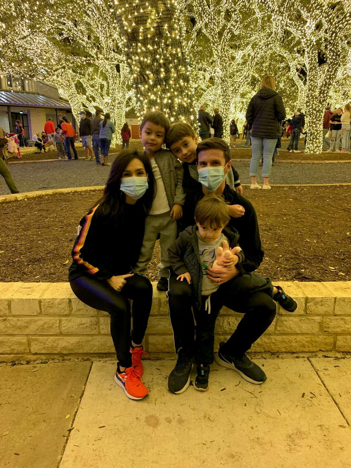KENS 5 Phil Anaya with his wife, KSAT anchor Isis Romero, and their children Elijah, Phillip, and Noel.