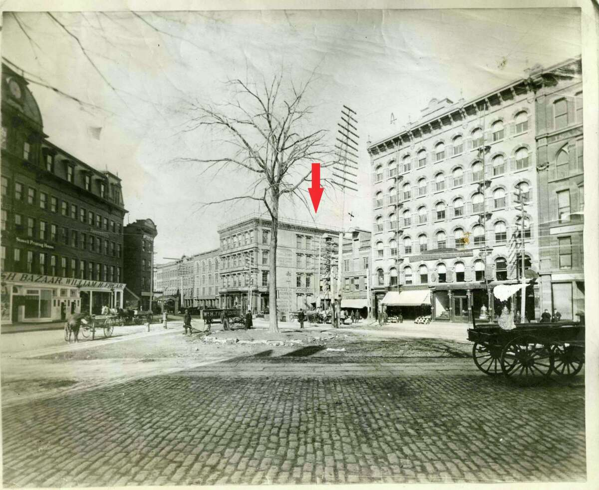 Monument Square in Troy, NY, circa 1888 before the Rensselaer County Soldiers and Sailors Monument was build and dedicated in 1891. HBO's
