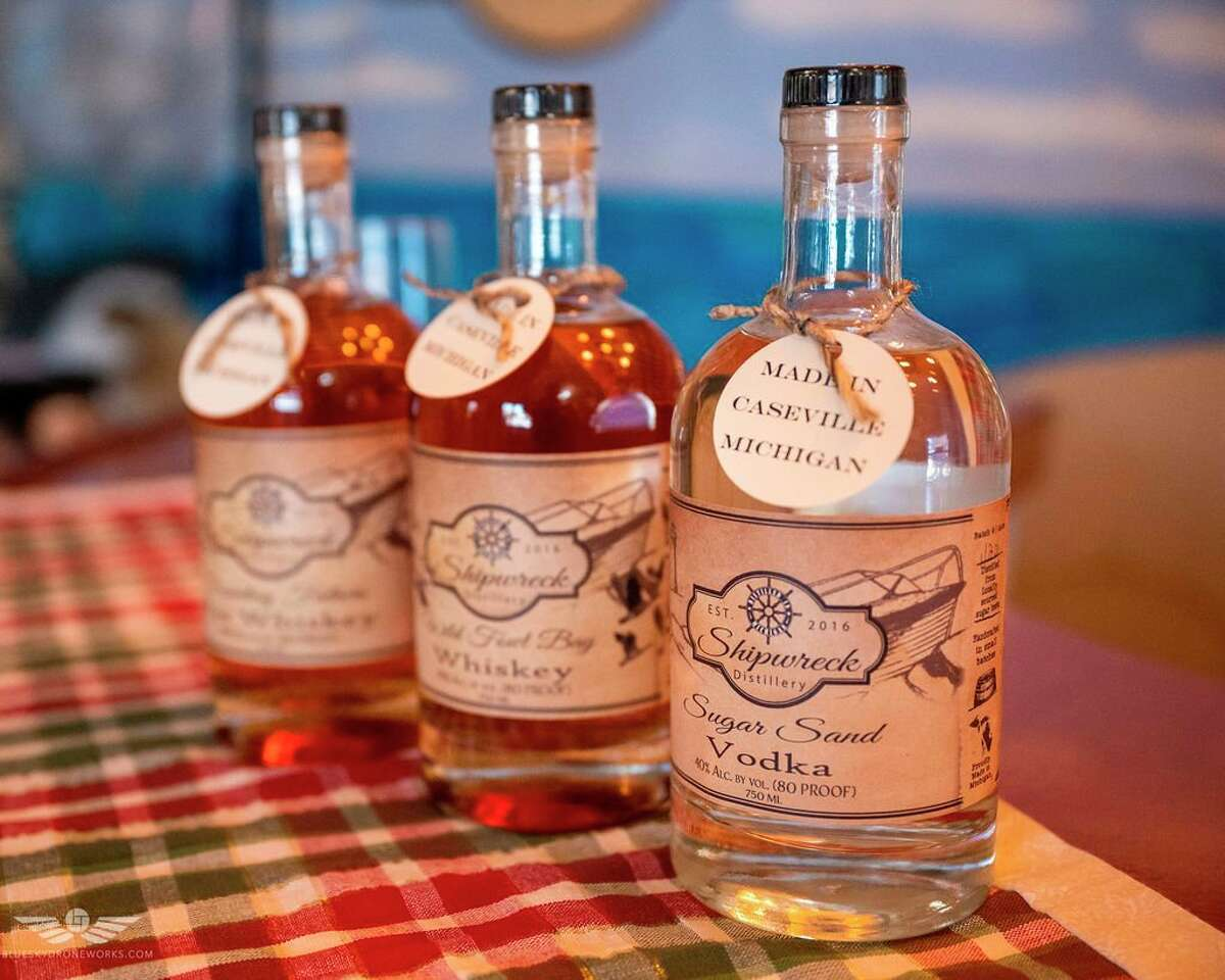Different beverages from Shipwreck Distillery set up on display. (Courtesy Photo)