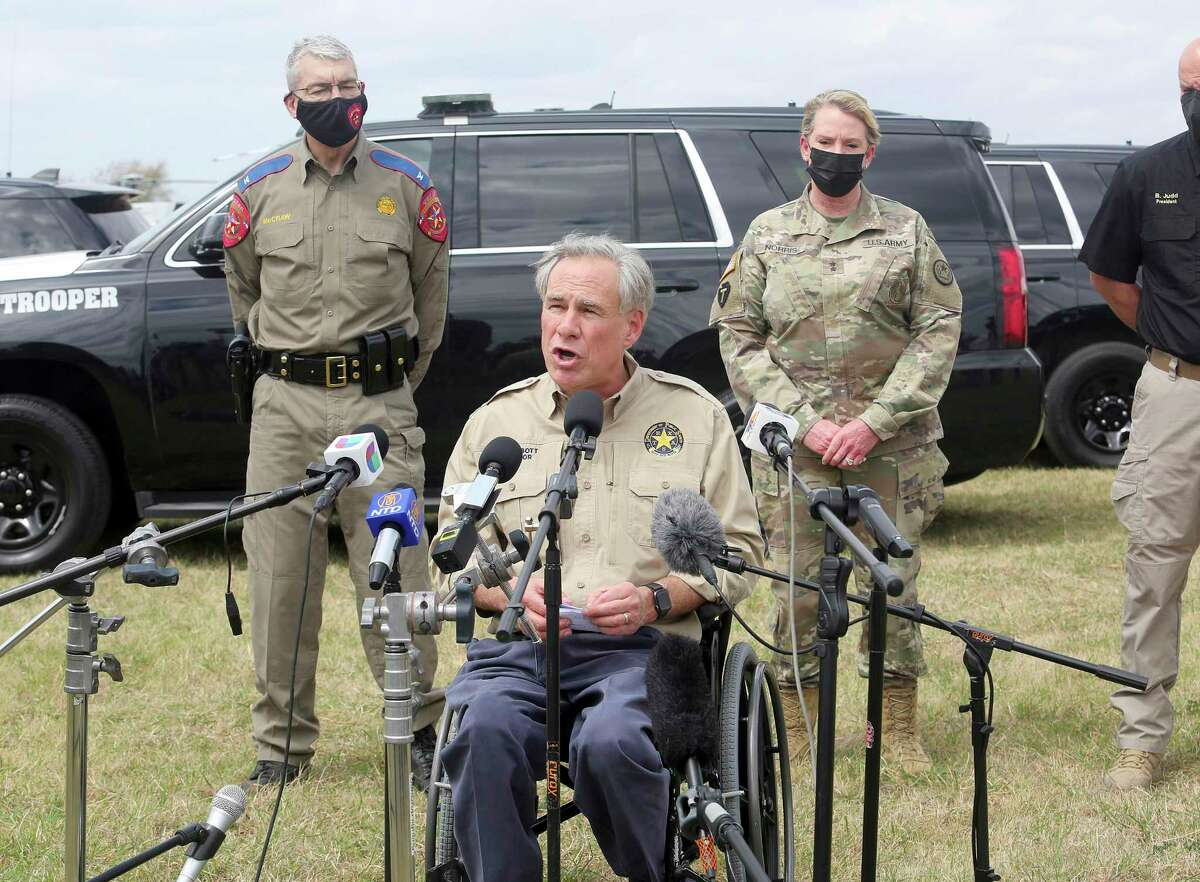 Gov. Greg Abbott, pictured here in Mission in March, continues to play border politics for all they are worth.