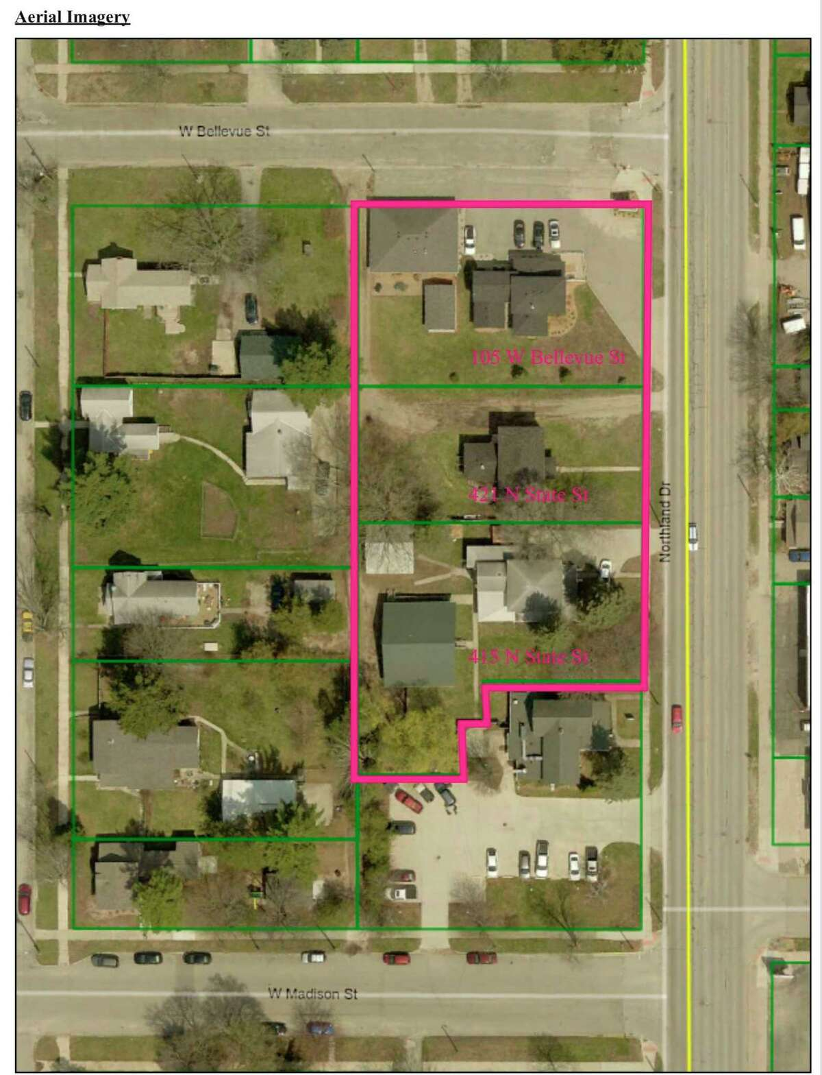 Krist Oil Company, Inc. requested the area outline in pink be rezoned from RR Restricted Residential to C3 Commercial for the purpose of putting a gas station and convenience story on the property. (Photo courtesy of Big Rapids planning commission)