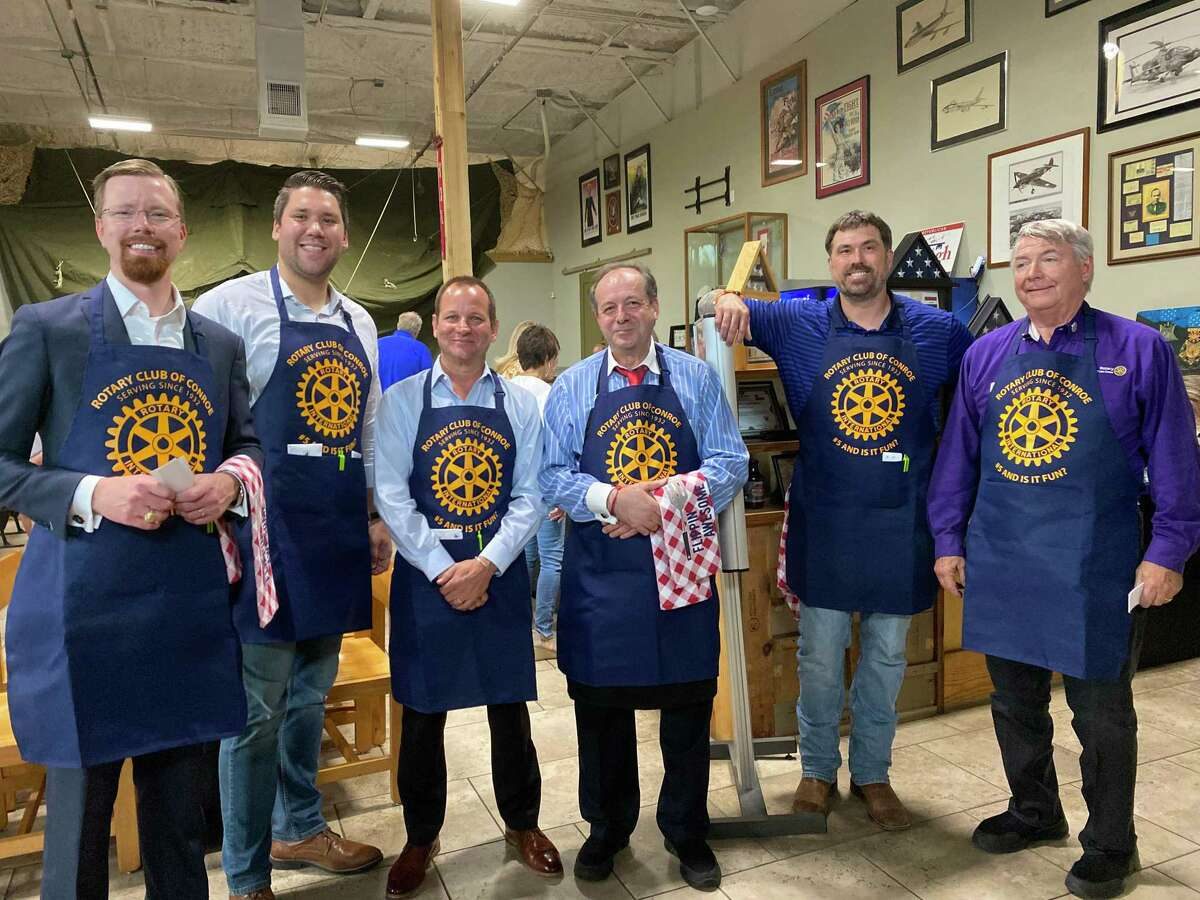 The Rotary Club of Conroe brought back a tradition on June 8 with the return of the Club's Pancake Supper. The event took place at Honor Cafe and marked a successful rebirth of the event. Pictured are the celebrity waiters for the evening from left: State Rep. Will Metcalf, R-Conroe, Craig Lewellyn, formerly with Kevin Brady's office and now assisting with Morgan Luttrell's campaign, Conroe Mayor Jody Czajkoski, owner of Amore's Alfred Limani, Congressional candidate Morgan Luttrell and Mike Berger from the Rotary Club of Lake Conroe.