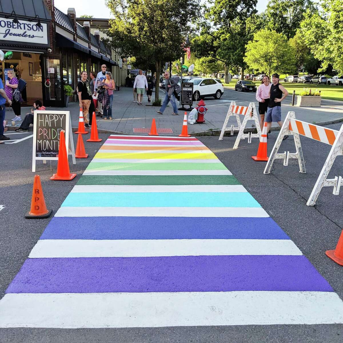 The rainbow crosswalk in downtown New Milford was repainted on Thursday