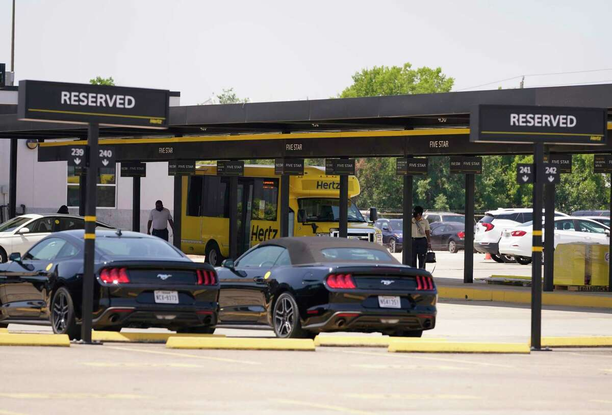 A few vehicles are shown in the lot at Hertz, 8100 Monroe Road, at Hobby Airport Friday, June 18, 2021 in Houston.