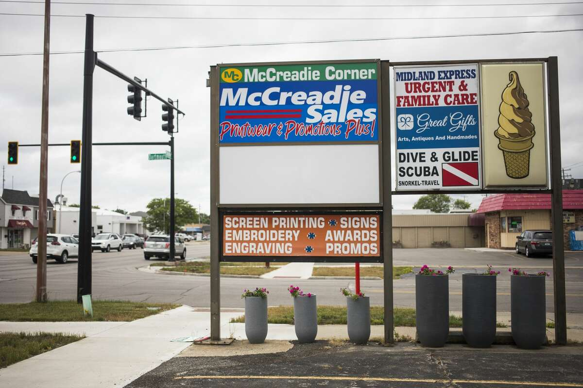 McCreadie Corner is located at S. Saginaw Road and Dartmouth Drive in Midland. The plaza includes McCreadie Sales, Clarence's Smokehouse, Midland Express Urgent & Family Care, Great Gifts and Dive & Glide Scuba. (Katy Kildee/kkildee.mdn.net)