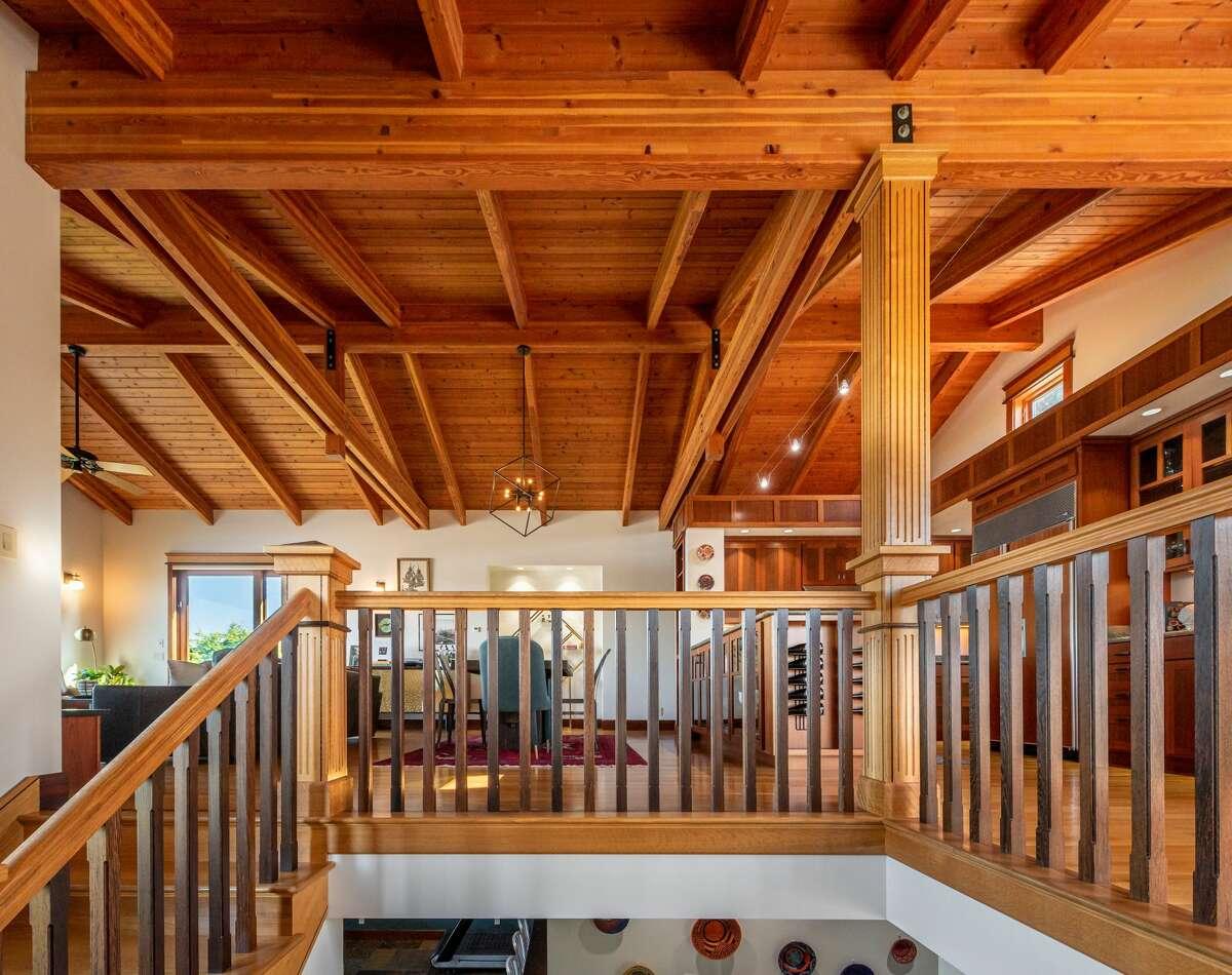 Custom design features make generous use of natural wood.