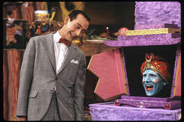 Publicity still from 'Pee Wee's Playhouse' (CBS), a children's television show starring Paul Reubens and John Paragon, 1986.