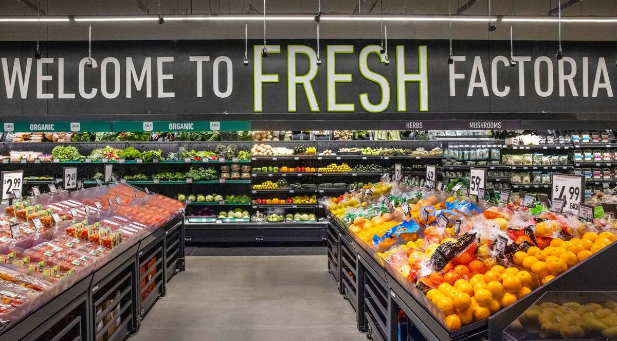 The produce section in the Factoria Amazon Fresh.