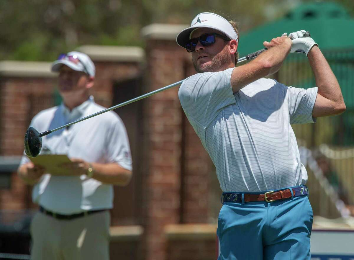 Lane Branum follows his tee shot 06/18/2021 during the second round of the Texas Amateur Tournament at Midland Country Club. Tim Fischer/Reporter-Telegram