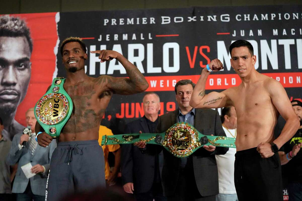 WBC middleweight champion Jermall Charlo, left, is quick to point out he is on a different level than challenger Juan Macias Montiel. Charlo will defend his title against Montiel Saturday in Houston.