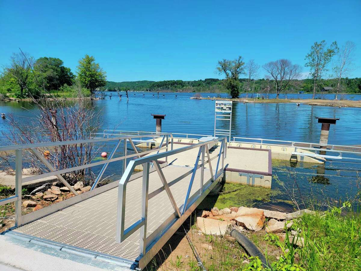 A new handicap accessible kayak rack was installed last fall in Penfold Park in Elberta. (Colin Merry/Record Patriot)