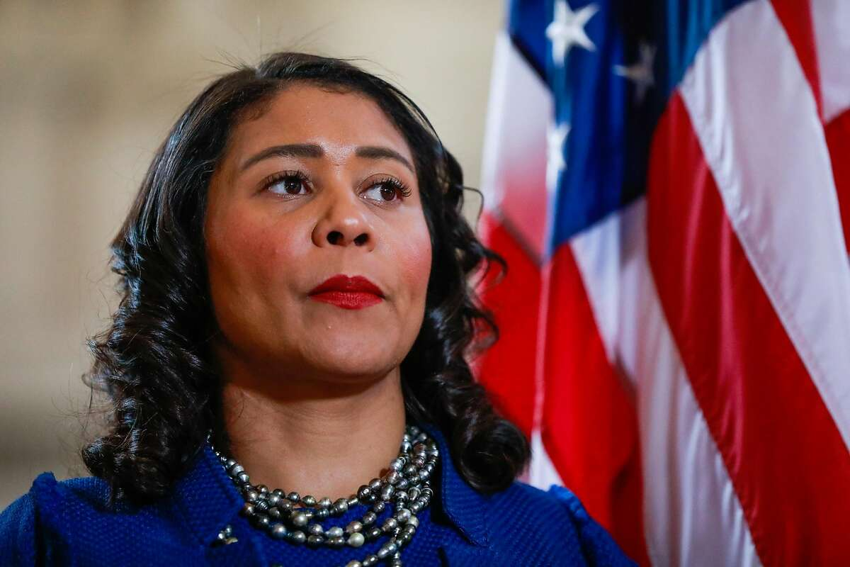 San Francisco Mayor London Breed listens during a press conference to announce a state of emergency due to the global outbreak of the coronavirus at City Hall on Tuesday, Feb. 25, 2020 in San Francisco, California.