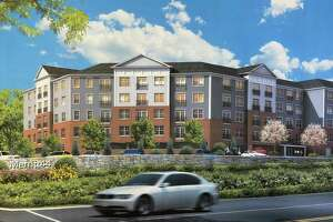 An artist rendering for a recently approved affordable housing project in Fairfield along the Merritt Parkway.
