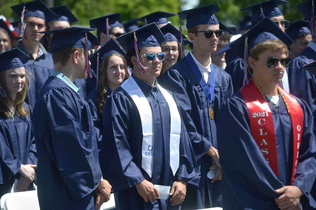 Dillon Thomas King, center, during the New Fairfield High School Class of 2021 Commencement Exercises. Friday morning, June 18, 2021, in New Fairfield, Conn.