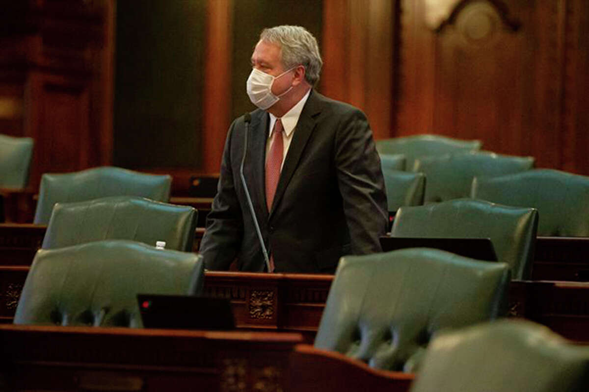 State Rep. Jay Hoffman, D-Swansea, delivers remarks during a session in the Capitol in Springfield.