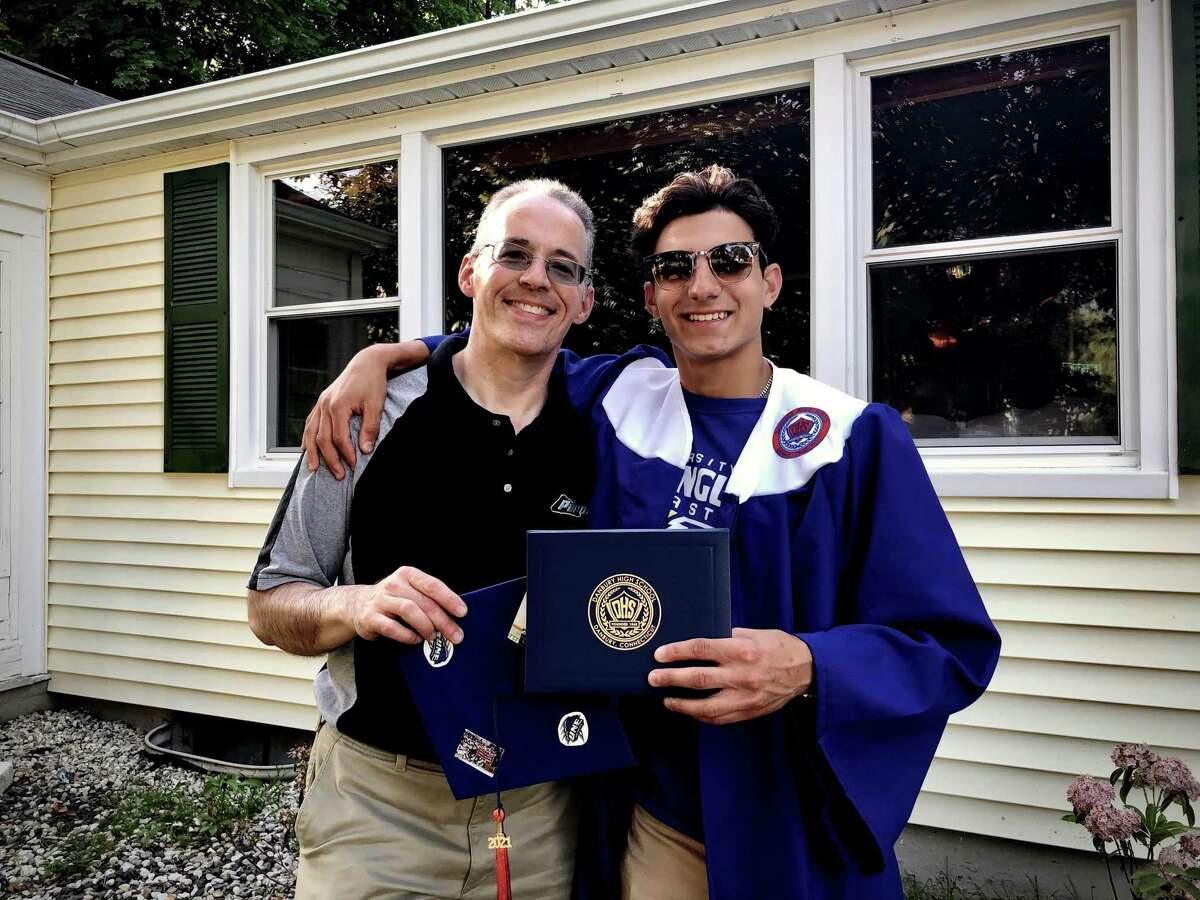 Barry Abrams and his son, Spencer, who graduated from Danbury High School this year. During the pandemic, Barry Abrams has been spending more time with Spencer as he has been working from home courtesy of his employer ESPN.