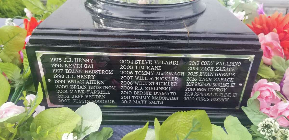 The Connecticut Amateur championship trophy with all the winners dating back to Fairfield native J.J. Henry prevailing.