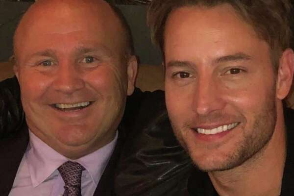 Actor Justin Hartley (right) with restaurateur Tony Capasso at Tony's at the JHouse in Riverside last week.