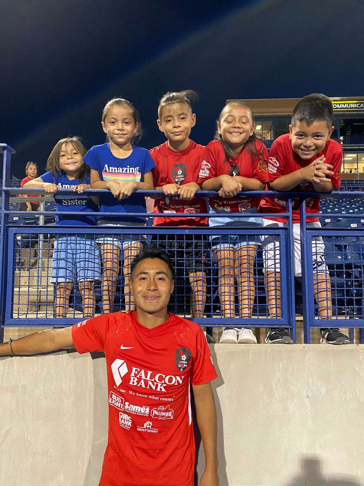 Laredo Heat SC captain Erwin Regules is pictured with members of the youth academy following a 1-1 draw on the road against the Midland-Odessa Sockers FC. Regules and the Heat return to action Saturday with a 7:30 p.m. road game against the Fort Worth Vaqueros FC.