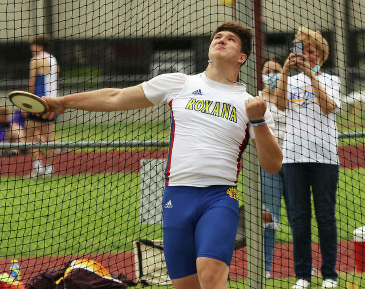 Roxana's Ashton Noble finished third in the discus Friday at the IHSA Boys Class 2A State Track and Field Meet in Charleston. He is shown at the Madison County Meet this season.
