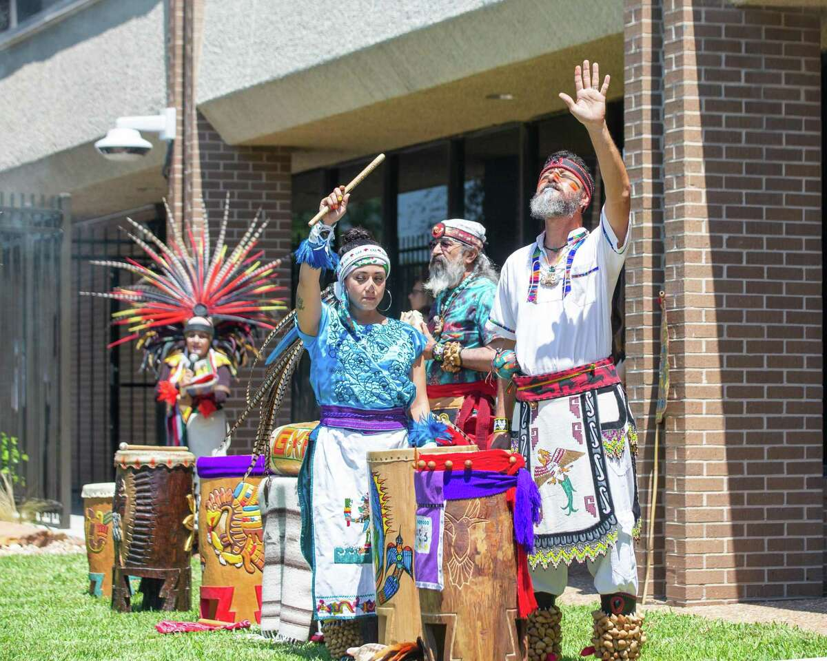 Chikawa dancers perform to celebrate the new Mexican Consulate building during a ceremony at the Mexican Consulate, Friday, June 18, 2021, in Houston.