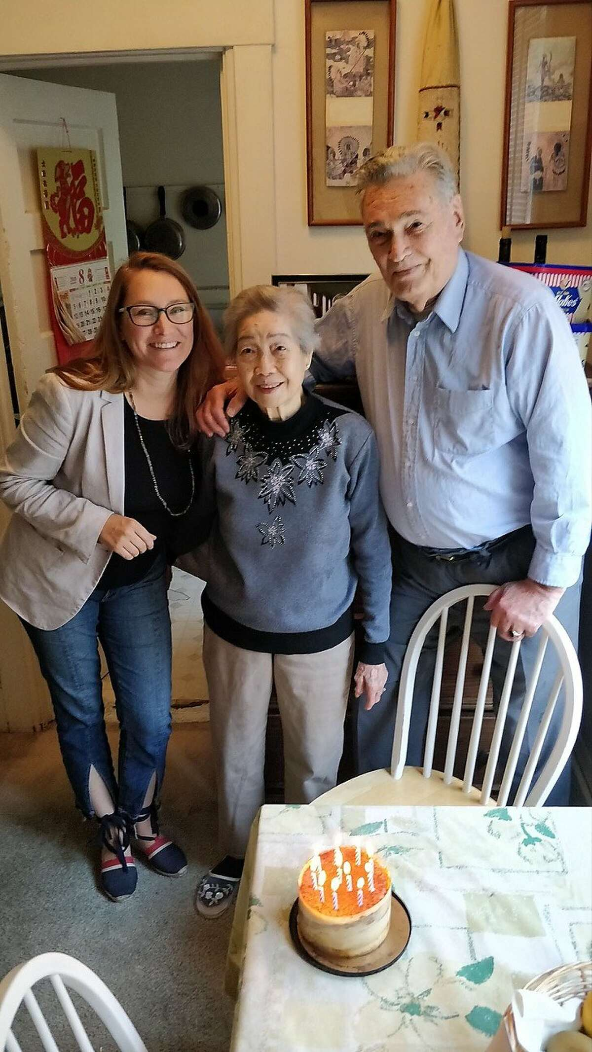 """Anh Taylor, 94 (center), may lose function of her left arm following an """"unprovoked"""" stabbing on in San Francisco's Lower Nob Hill neighborhood."""
