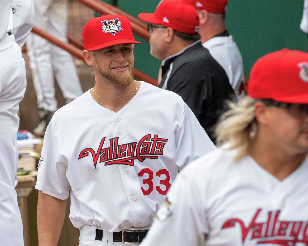 Tri-City ValleyCats pitcher Austin Cline during a game against the Sussex County Miners at Joseph L. Bruno Stadium on the Hudson Valley Community College campus in Troy, NY, on Friday, June 18, 2021 (Jim Franco/Special to the Times Union)