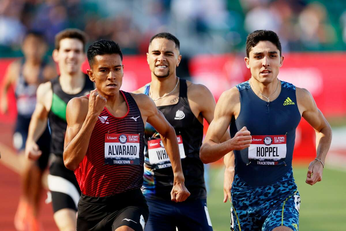 EUGENE, OREGON - JUNE 18: Bryce Hoppel competes in the first round of the Men's 800 Meter during day one of the 2020 U.S. Olympic Track & Field Team Trials at Hayward Field on June 18, 2021 in Eugene, Oregon. (Photo by Steph Chambers/Getty Images)