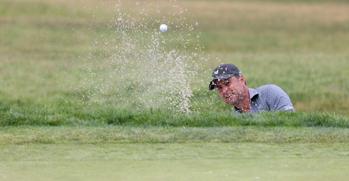 Richard Bland of England plays a shot from a bunker on the eighth hole during the second round of the 2021 U.S. Open at Torrey Pines Golf Course (South Course) on June 18, 2021 in San Diego, California. (Photo by Harry How/Getty Images)