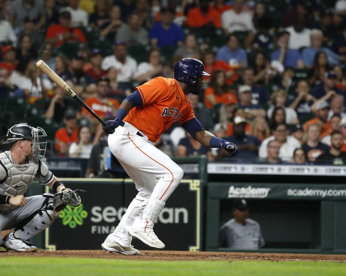 Houston Astros designated hitter Yordan Alvarez (44) gets the first hit, a single, of the night off Chicago White Sox starting pitcher Carlos Rodon during the fifth inning of an MLB baseball game at Minute Maid Park, Friday, June 18, 2021.