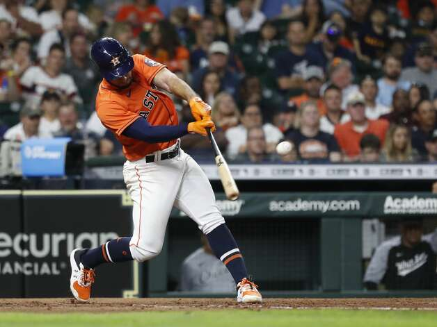 Houston Astros Abraham Toro (13) hits a single off of Chicago White Sox starting pitcher Carlos Rodon to load the bases during the fifth inning of an MLB baseball game at Minute Maid Park, Friday, June 18, 2021. Photo: Karen Warren/Staff Photographer / @2021 Houston Chronicle