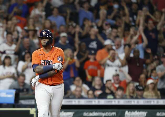 Houston Astros Martin Maldonado (15) draws a walk from Chicago White Sox starting pitcher Carlos Rodon, with the bases loaded, scoring a run during the fifth inning of an MLB baseball game at Minute Maid Park, Friday, June 18, 2021. Photo: Karen Warren/Staff Photographer / @2021 Houston Chronicle