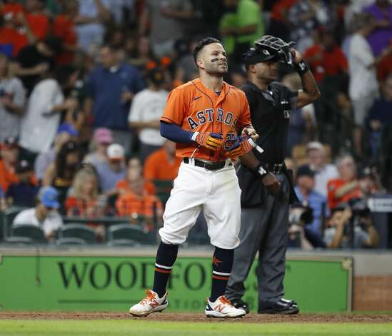 Houston Astros Jose Altuve (27) reacts after strikes out with the bases loaded against Chicago White Sox starting pitcher Carlos Rodon during the fifth inning of an MLB baseball game at Minute Maid Park, Friday, June 18, 2021. Photo: Karen Warren/Staff Photographer / @2021 Houston Chronicle